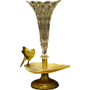 Austrian cold painted bronze bird on shell epergne antique