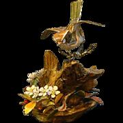 SALE PENDING Norman Brumm enamel copper bird sculpture on wood artist double signed
