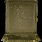 Czech frosted dancing fairy art glass vase