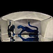 Kosta Boda Bertil Vallien glass sculpture paperweight panther signed