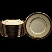 Minton porcelain set of fourteen matching cobalt blue gold dinner plates