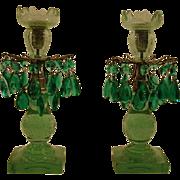 Antique pair aqua glass prism candlesticks mantle lamps