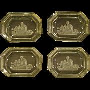 Czech intaglio cut set of four salt dips dishes classic figures