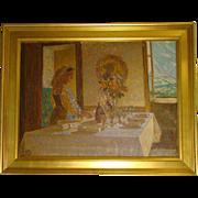 Knud Sinding Danish artist woman setting the table oil painting