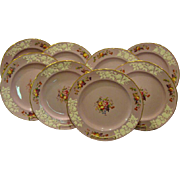 Copeland Spode set of twelve lilac flower and fruit embossed dinner plates