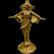 Art nouveau sculptural woman with lillies table lamp artist signed