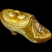Antique Coalport hand painted covered show slipper trinket box RARE