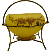 Victorian satin glass gold enameled flower butterfly bowl in silverplate basket frame