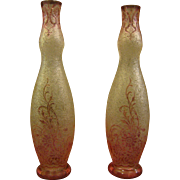 Val St Lambert acid cut cameo pair of matching art glass vases