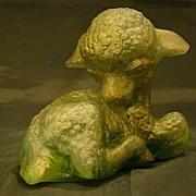 SALE Edris Eckhardt pate de verre lamb sculpture figurine