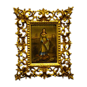 SALE Porcelain plaque saint in ruins with gesso frame