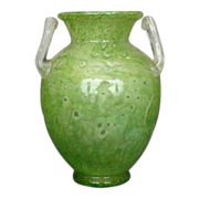 Steuben green cluthra M handle urn signed
