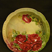 SALE Bavarian hand painted red roses bowl