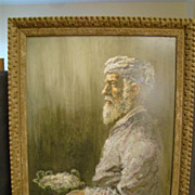 William Weintraub watercolor portrait Israeli man with bowl