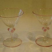 SOLD Venetian art glass pair of goblets applied prunts