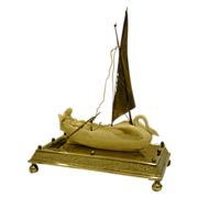 SOLD Meriden silverplate parian ware woman in swan boat centerpiece
