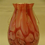 Pink cased art glass vase applied tadpoles raindrops