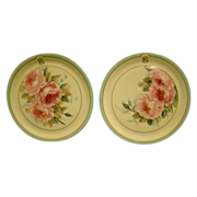 French porcelain pair hand painted roses chargers Paris