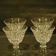 Hawkes set of four crystal wine water goblets