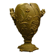 Schiller & Gerbing pottery chicken egg bronze finish vase