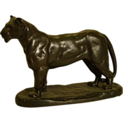 Barye bronze recast sculpture of lionness lion