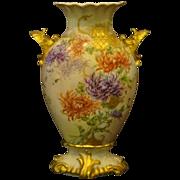 SALE Limoges hand painted chrysanthemum vase shell handles  RARE form