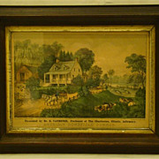 Currier & Ives 1868 American Homestead Summer colored lithograph