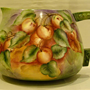 American Belleek hand painted pitcher apple decoration