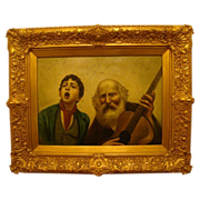 SALE Antique Italian oil painting of boy singing and musician gilded frame