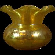 Loetz gold iridescent art glass ruffled vase
