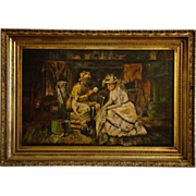 SALE Antique negro fortune teller oil painting manner of Harry Roseland