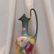 SALE Fabulous, Huge Limoges Handled Ewer/Vase/Pitcher; Superior Roses; Rich, Deep Colors