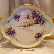 SALE Huge, Lovely Limoges Rococo/Nouveau Tray; Scenic, Cottage, Path, Violet Overlay