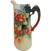 Superb Willets Belleek Dragon Handled, North Wind Spout Tankard; Rich, Ripe Cherries