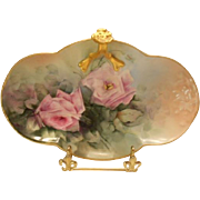 Very Lovely Limoges Split Handle Tray; Cotton Candy Pink Roses