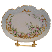 Very Lovely Klingenberg Limoges Scalloped Tray; Dainty Pink Roses & Raised Paste Gold Scroll &