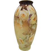 Exquisite Lenox CAC Belleek Hand Painted Vase; Beautifully Painted Yellow Roses; Artist