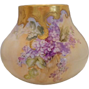 Lovely Limoges Bulbous Vase; Handpainted Lilacs, Heavy Gold Overlay