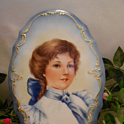 Exquisite Hand Painted Portrait Plaque;Early 1900's Era Young Lady