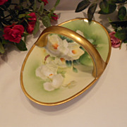 SALE Pretty & Colorful Limoges Old Abbey Handled Basket; White Roses; Manet