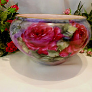 SALE Beautiful Bavaria Jardiniere; Richly Painted Deep Roses