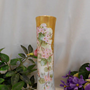 Sweet & Pretty 1897 Limoges Vase; Pink Violets; Heavy, Rich Gold; Raised Paste Turquoise Jewel