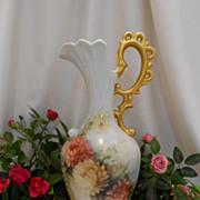 SALE Tall & Stately Ornate Ewer/Vase; Gorgeous Handpainted Chrysanthemums