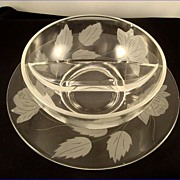 SALE Vintage 1940 Crystal Etched ROSES Divided Mayonnaise Bowl With Underplate