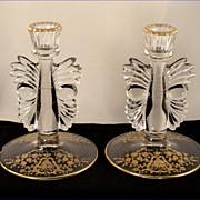 SALE Vintage Glastonbury Lotus Rose Bud Pattern #300 Gold Etched Glass Art Deco Candlestick