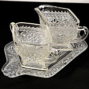 SALE Vintage Indiana Sandwich Glass Pattern #170 Crystal Creamer and Sugar on Tray