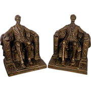 SOLD Vintage 1962 Austin Productions ABE Abraham Lincoln Bookends Bronze Finish Book Ends