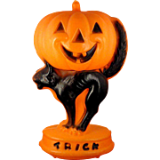 Vintage Lighted Plastic Halloween Blow Mold Decoration ~ Trick or Treat Jack-O-Lantern Pumpkin
