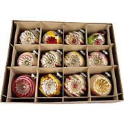 SOLD Fantastic Vintage Box 12 Large Shiny Brite Mica Snow Covered Indents Glass Christmas Orna