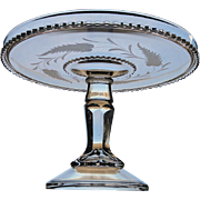 Antique EAPG 1888 Adams SAXON Engraved Crystal Victorian Pedestal Cake Stand